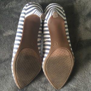 Merona Shoes - Merona Blue & White Striped Heels